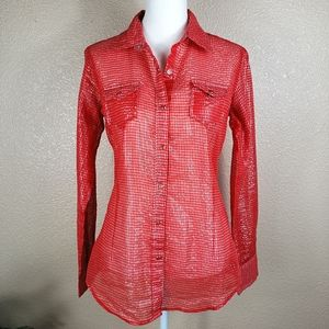 Ariat shiny see through red orange gingham blouse